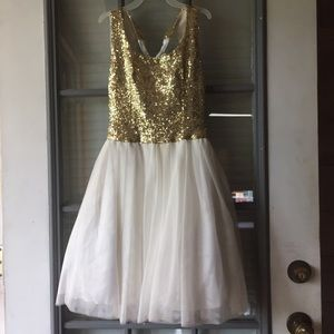 gold and white homecoming dress